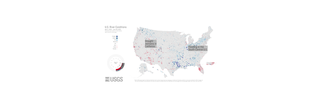 Screenshot of an animation showing changing hydrologic conditions at USGS gage locations from April to June, 2021