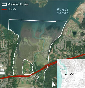 Aerial map of modeling area in the Nisqually River Delta